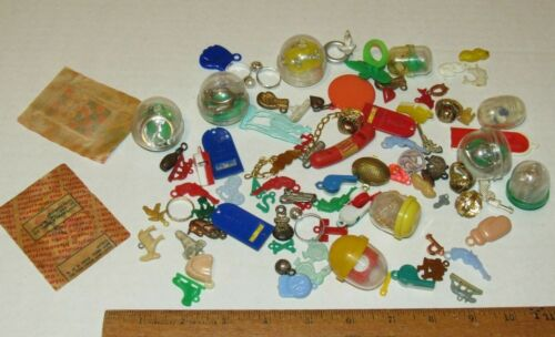 Vintage Lot of Cracker Jack & Other Toys, Charms Gumball Vending Prizes Premiums