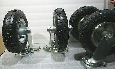 Four 8-9 Pneumatic Tire Caster Wheel 2 Swivel 2 Swivel Lock