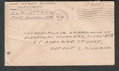 Wwii Cover Cpl Hyman Cohen Co F 15Th Str Fort Monmouth Nj Red Bank To Detroit
