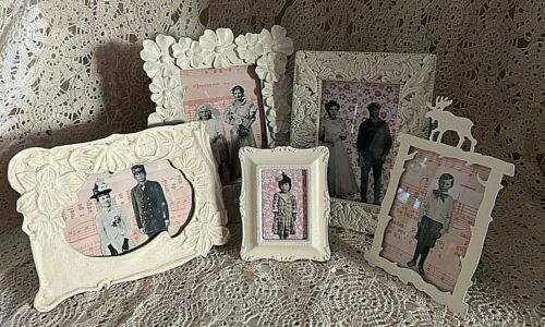 Vintage Lot Of 5 Shabby Chic Upcycled Chalk Painted Picture Frames
