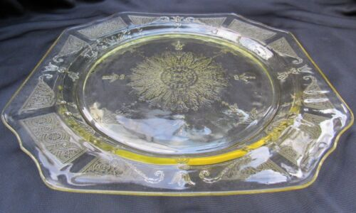 1931 Topaz Yellow Depression Glass Hocking Princess 9 Inch Dinner Plate