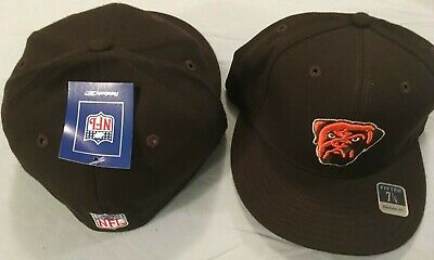 CLEVELAND BROWNS TEAM COLOR MAX LOGO FLAT BRIM FITTED  WOOL NFL CAP BY REEBOK Flat Brim Fitted Wool Cap