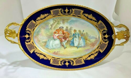 Antique French  Ormolu Mounted Sevres Porcelain Hand Painted  Centerpiece Signed