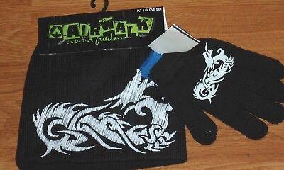 White Knit Glove (*AIRWALK BOY'S KNIT HAT & GLOVE SET ONE SIZE BLACK WHITE NWT)