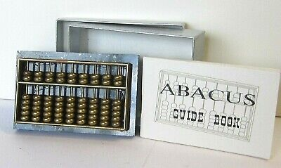 Brass abacus on real marble base with instructions. Small/mini size. Paperweight