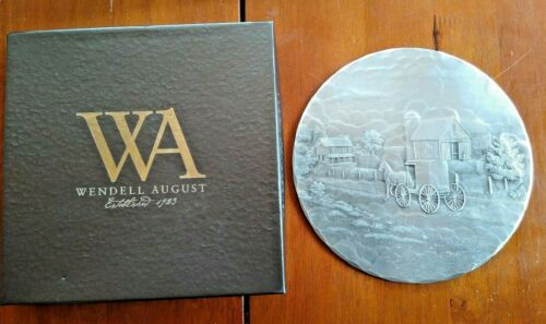 """7"""" Wendell August Pewter Cork-backed Plate with Box - Horse & Buggy, Farm"""