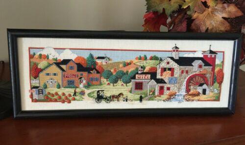 Finished Dimensions Macintosh Mill Charles Wysocki Pumpkins Cross Stitch Framed