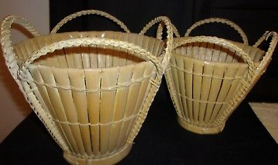 Pair of Handmade Mid Century Decor Collectible Baskets