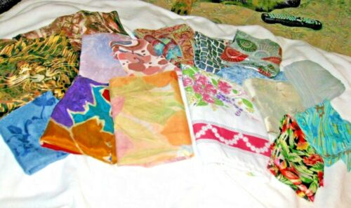 Lot of 16 VTG Womens Scarves Silk Rayon Poly Floral Abstract Signed 60