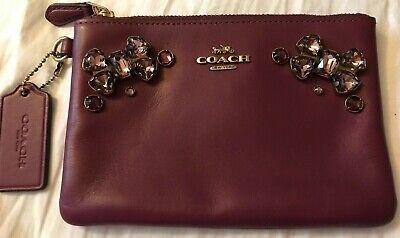 Luxury Gift Coach Leather Wristlet Bag Embellished Crystal Bows Damson