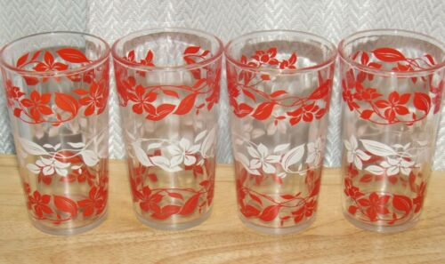 Set Of 4 Vintage Hazel Atlas Red And White Floral Swanky Swig Drinking Glasses