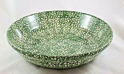 Workshop of Gerald Henn Roseville Large Green Spongeware Serving Bowl Dish 13""