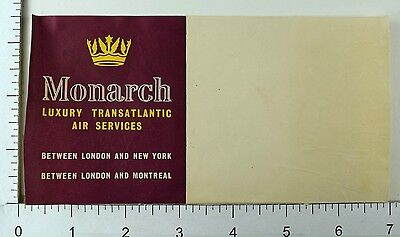 1930S 40S Monarch Transatlantic Air Service Luggage Label Poster Stamp E10