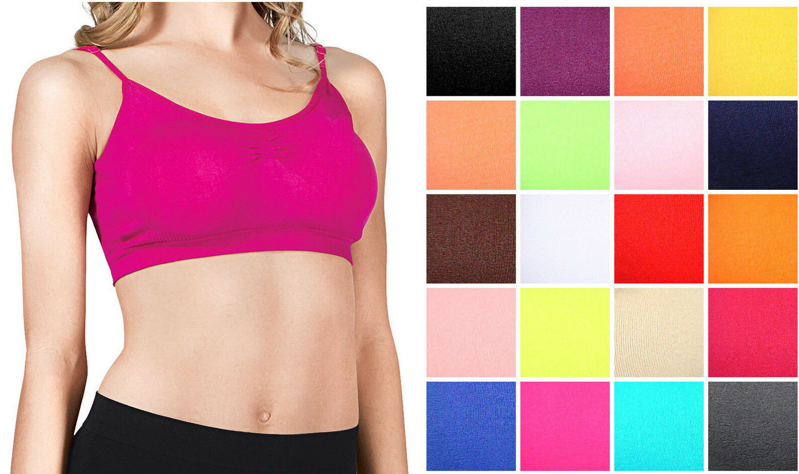 Womens Seamless Spandex Padded CAMI BRA TOP Layering Crop Spaghetti Strap Tank Clothing, Shoes & Accessories