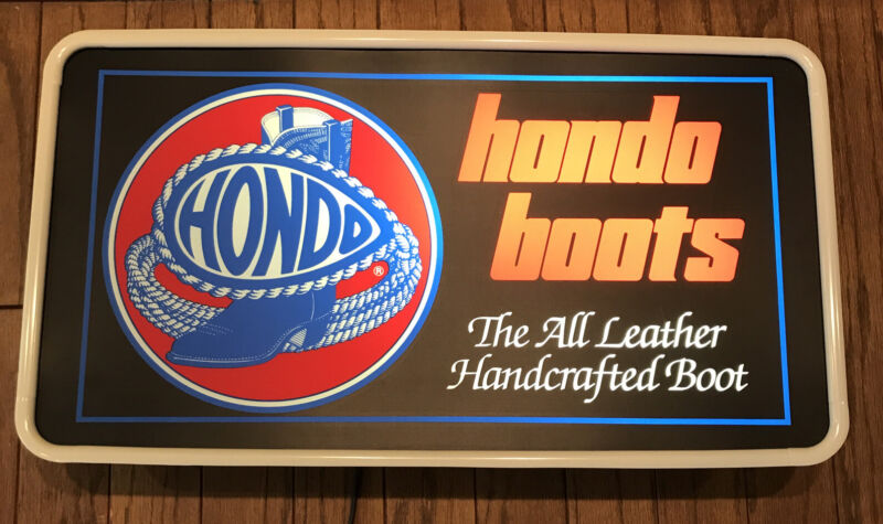 RARE HTF HONDO Boots Lighted Display Store Sign TecArt Sign Advertising 24x13""