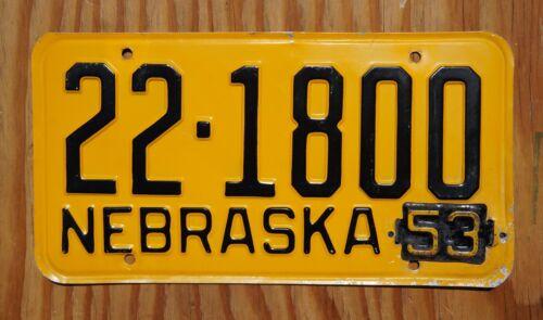 1953 SALINE County Nebraska License Plate # 22 - 1800