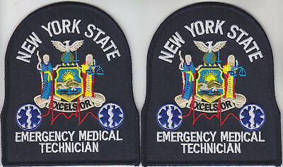 New York State EMT Emergency Medical Technician 2 PATCHES NY NYS WHITE/DARK NAVY