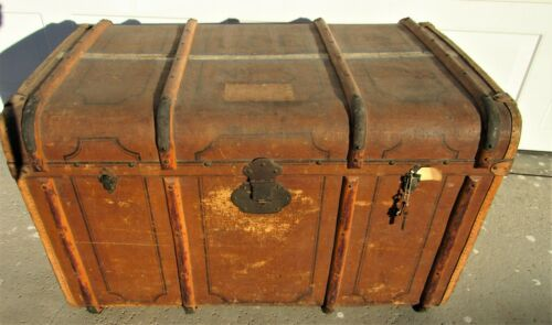 Amazing Tall Wood & Brass Banded Antique Steamer Trunk Wooden Bands Stickers