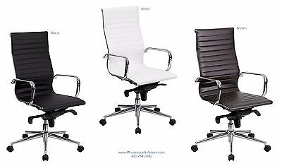 Quality 12 High Back Conference Office Desk Chairs In Black Brown White Leather