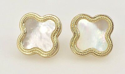 14k Yellow Gold Leaf Earrings (Solid 14k Yellow Gold White Mother of Pearl 4 Leaf Clover Stud Earrings,  New)