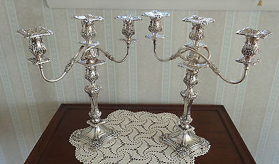 Pair of 3 Light Friedman Silver Brooklyn NY Candelabras