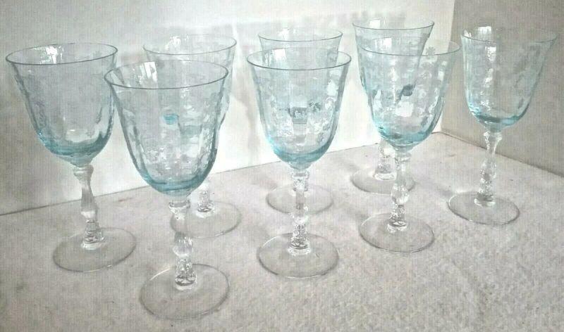 """FOSTORIA Blue Navarre LARGE CLARET WINE Set of 8 Crystal Goblets 6 3/8"""""""