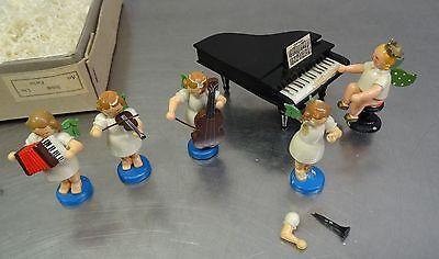 Ältere Erzgebirgs Volkskunst Engel 's Orchester mit Klavier Flügel Piano