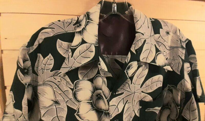 Vintage 40s Floral Green Hawaii Rayon Aloha Hawaiian Shirt Mens Size M EXCELLENT