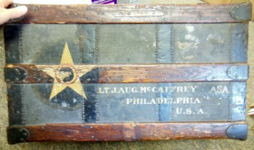 WW1 Army Air Service Rare Named Soldier Painted Foot Locker Mccaffrey Phil. Pa
