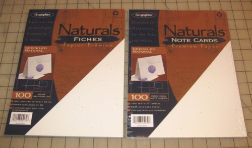 2 Geographics Naturals SPECKLED NATURAL 100-Ct NOTE CARDS Packs - Unopened - NIP