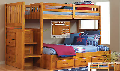 Discovery World Furniture Honey Twin over Full Staircase Bunk Bed Bunk Bed Honey