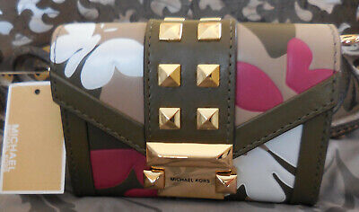 MICHAEL KORS ~Small Chain Butterfly Camo Leather Carryall Wallet ~OLIVE~NWT $198