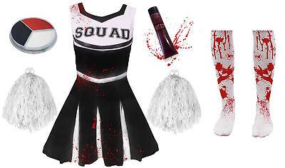 GIRLS BLACK ZOMBIE CHEERLEADER CHILDS SCHOOL FANCY DRESS COSTUME HALLOWEEN TEEN - Cheerleader Halloween Costume Teen