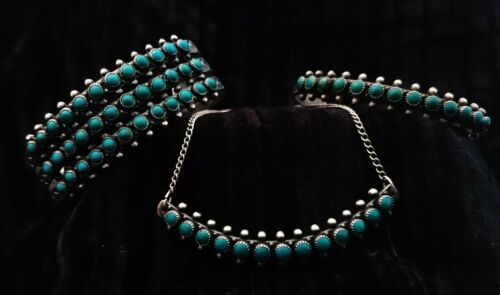 Vintage Zuni Turquoise Petit Point Snake Eye Set 2 Bracelets & Necklace CLOSEOUT