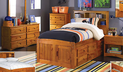 Captains Bed Furniture (Discovery World Furniture Honey Twin Size Captains)