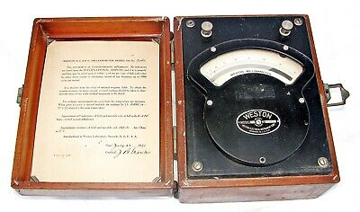 Vintage 1931 Weston Ac-dc Milliammeter Model 370 In Wooden Case Made In The Usa
