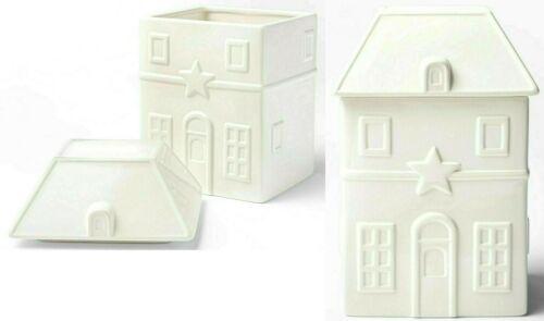 Glazed Earthenware House Figure Cookie Jar White