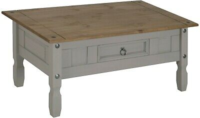 Corona Coffee Table Grey Wax 1 Drawer Solid Pine Living Room Mercers Furniture®