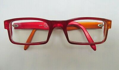 Kirk Heroes Sir Reginald Kirk Prescription Glasses Preowned Red/Orange + Pouch