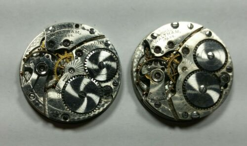 Two 6-0 Size Waltham Pendant Watch Movements. For Parts Or Service.