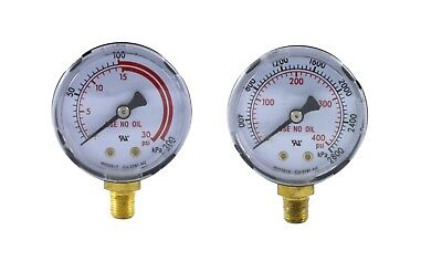 Pair Of Gauges For Acetylene Regulator - Low High - 2 Inches - 18 Npt Thread