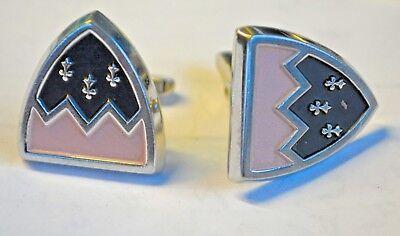 Pink Enamel Cufflinks - Vintage pink enamel cufflinks hickok shield silver tone