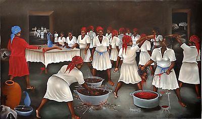 "Vintage 36""x60"" Haitian Oil on Canvas ""Bizango"" Eddy Jean Francois Augustin 1992"