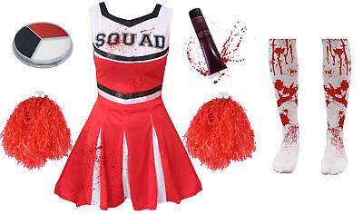 GIRLS RED ZOMBIE CHEERLEADER CHILDS SCHOOL FANCY DRESS COSTUME HALLOWEEN TEEN