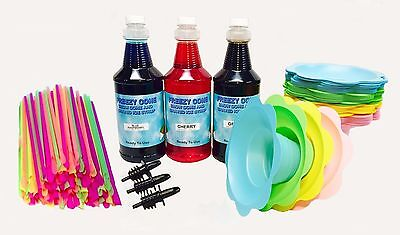 Deluxe 75 Snow Cone Serving Kit 3 Qrt Syrup Flower Cups Lg Straws Pick Flavors