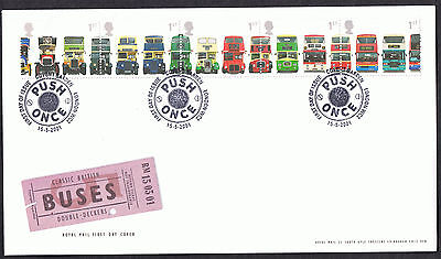 Double-decker Bus 2001 First Day Cover - SG2210 to SG2214 Covent Garden Cancel