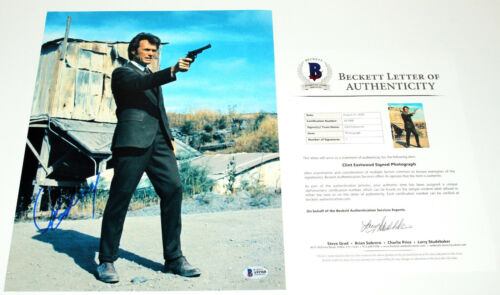 CLINT EASTWOOD SIGNED AUTHENTIC 'DIRTY HARRY' 11x14 MOVIE PHOTO BECKETT BAS COA