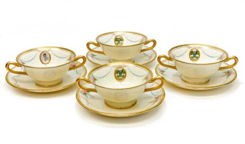 4 Lenox Hand Painted Porcelain Bouillon Bowls & Underplates in Virginian c.1910