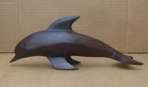 """Wood Dolphin Porpoise 11"""" Long Hand Carved Ironwood Figure"""