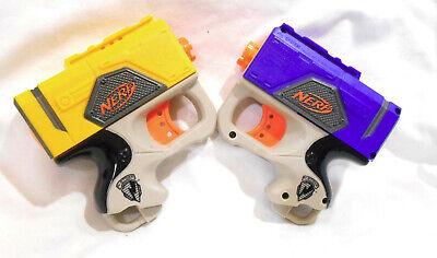 2 NERF Soft REFLEX N-Strike Single Shot Dart Guns 2007 Yellow BlueToy Sanitized